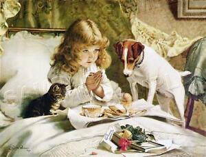 "VINTAGE Victorian ANTIQUE Suspense JACK RUSSEL Child PRAY CANVAS Art 19""x13"""