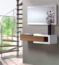 Hogar24.es -Recibidor mueble consola mueble de entrada con espejo nogal y blanco