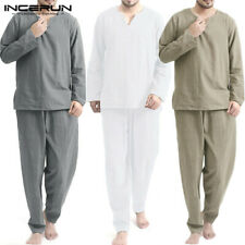 Mens Long Sleeve Sleepwear Suits Top&Pants Pajamas Set Loungewear Nightwear Suit