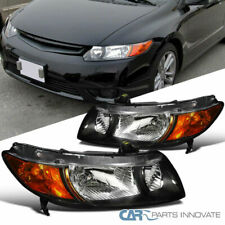 Fit 06-11 Honda Civic 2Dr Coupe Black Headlights Head Lights Lamps Left+Right