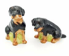Rottweiler Dog Salt & Pepper Shakers Ceramic