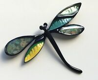 Unique vintage style  pink Dragonfly brooch in enamel on metal
