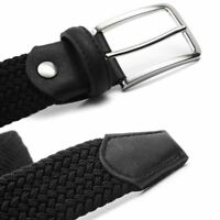 Men Woven Elastic Belt Strap Stretchy Waist Male Man Casual Metal Striped Buckle