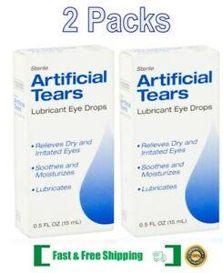 2 Packs Artificial Tears Sterile Lubricant Eye Drops, 0.5 fl Oz Each