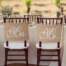 Mr and Mrs Tag Burlap Chair Banner Sign Garland Rustic Wedding Party Decor New