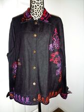 Coldwater Creek Black Cotton Denim Embroidered Studded Jacket Size 3X