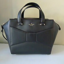 KATE SPADE LEATHER Beau 2 Park Avenue HANDBAG New York BLACK Bow SOLD OUT Rare !