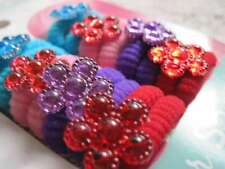 16 Goody Girls Colors Flower Gentle Terry Fabric Hair Bands Elastic Ponytailers