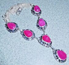 Artisan Handcrafted Natural Raw Cut Ruby 925 Silver Necklace ~ 18 1/2 Inches