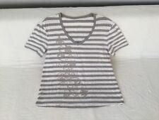 Gerry Weber Damen Shirt Gr. 44 weiß/grau gestreift
