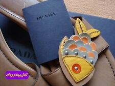 AUTH Prada Rainbow Rivet Fish Leather Sea Clog Wood Summer shoes - Size 37