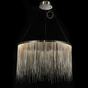 CGC Quality Large Silver Chain Waterfall LED Pendant Ceiling Light Matching Base
