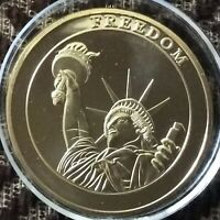 LOT-2,USA,FREEDOM,SEP 11 GOLD PLATED NOVELTY MEDALLION.BRILLIANT UNC.40 MM
