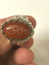 BEAUTIFUL HANDMADE CUSTOM CARVE CUT MEN'S SILVER RING WITH CARVE OVAL AQEEQ