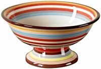 "Two and a Half Men Charlie Tabletop Lifestyles 11"" Footed Compote Sedona Stripe"