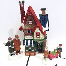 TOY SHOP BUILDING + ADULTS & KIDS, 3 Piece Porcelain Holiday Village Used no Box
