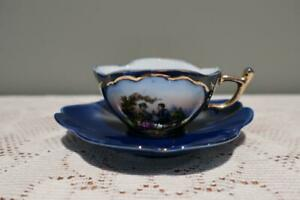 Vintage Continental Porcelain Demitasse Cup & Saucer - Courting Couple - Gc