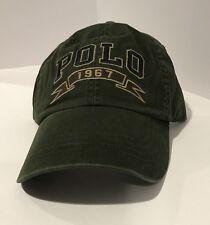 Polo Ralph Lauren Men's Polo 1967 Chino Baseball Cap Leather Strapback Green NEW