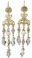 £50 Art Nouveau Celtic Gold White Pearl Drop Earrings Swarovski Elements Crystal
