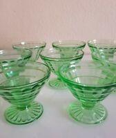 Set of 8 Vintage Glass Green Depression Sherbet/dessert footed cups