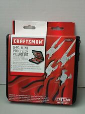 NEW Craftsman 5 pc. Mini-Pliers Set BENT, NEEDLE, LONG,  DIAGIONAL AND END NIPPR