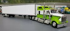 1/64 DCP KENWORTH W900L GREEN/WHITE WITH  SPREAD AXLE DRY VAN TRAILER NEW IN BOX
