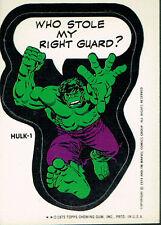 MARVEL COMIC BOOK HEROES 1974 STICKER CARD HULK-1