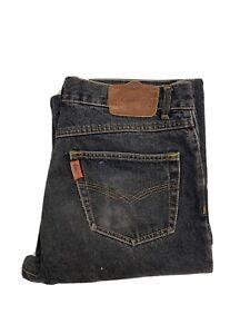 Authentic Jag Jeans Mens W 34 L 45 Black / Grey Straight Cut Frayed Hem