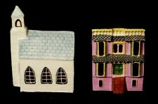 Vintage Keller Charles Miniature House Building Church 3020D & Pink House 3032
