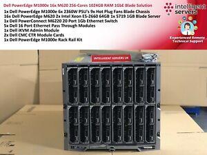 Dell PowerEdge M1000e 16x M620 256-Cores 1TB RAM 1GbE Blade Solution
