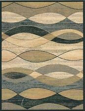 5X8 Area Rug Rugs New Modern Abstract Wavy Waves Black Green Blue Surf