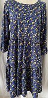 Women's Mantaray Dress Tiered Tunic Blue With Yellow Flowers BNWT UK Size 12