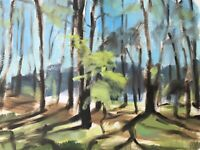 Original Impressionism Realism Painting Pine Trees Landscape Ukrainian Russian
