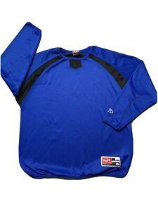 Rawlings Mens Baseball Long Sleeve Shirt Jersey Blue White Size Large