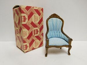 Vintage Town Square Dollhouse Upholstered Wood Wingback Arm Chair Furniture
