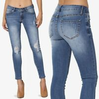 TheMogan Ripped Mid Blue Washed Stretch Soft Denim Low Rise Crop Skinny Jeans