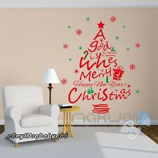 Large Red Christmas Quote Tree Snowflakes Wall Stickers Decals Decor Art Gift