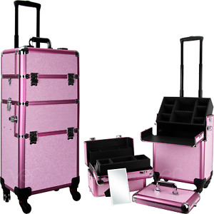 Ver Beauty Rolling Train Makeup Case Organizer with Trays and Compartment Keys