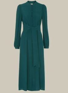 Whistles, Size 10, Midi length teal tie-waist dress, New with tags