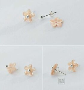 Gold in 925 Sterling Silver Cherry Natural Shell Stud Earrings 8mm Women Girl