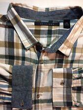 SEAN JOHN 5XB 5XL Extra Big Mens Button Down Plaid Checks Shirt Flip  Cuffs