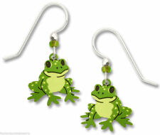 Frog Earrings - 925 Sterling Silver Ear Wires - Made in USA - Froggy Ribbit Toad