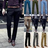 Men Slim Fit Straight Leg Formal Dress Trousers Casual Skinny Chino Pencil Pants