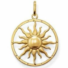 NEW THOMAS SABO GOLD PLATED ON SILVER LARGE SUN DISK PENDANT PE554 £159