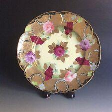 Antique Hand Painted Japanese Porcelain Plate Heavy Gold Signed Tashiro (田代)