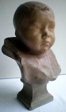 Sculpture terre cuite peinte XIXème, Buste d'Enfant, signé Henri BOUILLON