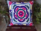 Vintage Uzbek Suzani Cushion Cover 16 Indian Embroidered Decorative Throw Pillow