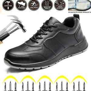 Mens Safety Trainers Steel Toe Cap Leather Hiking Boots Work Shoe Lightweight UK