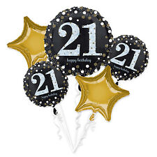 21st Happy Birthday Foil Balloon Bouquet Black Silver Gold Age 21 Decorations