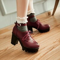 Goth Block Vogue Platform Creeper Ankle Strappy Lace Up Punk Womens Preppy Shoes